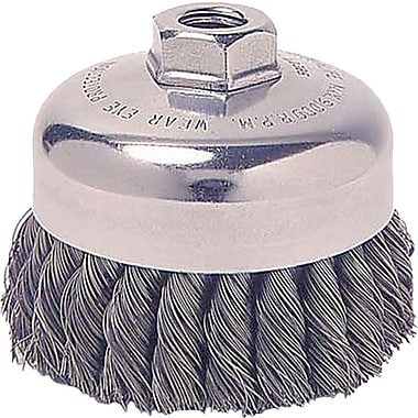 Weiler® 0.023 in (Dia) x 7/8 in (L) SS Wire SRA-3 Knot Cup Brush, 5/8-11, 3 1/2 in (Dia)