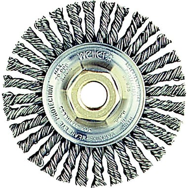 Roughneck™ 4 in (OD) 3/16 in (W) Face 0.02 in Wire Stringer Bead Twist Wheel Brushes