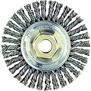 Roughneck™ 4 in (OD), 3/16 in (W) Face Stringer Bead Twist Wheel Brush, 0.02 in Wire, SS