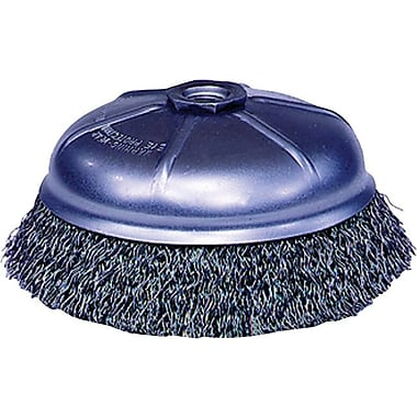 Weiler® 0.014 in (Dia) x 1 1/4 in (L) CS Wire CR-6 Crimped Cup Brush, 5/8-11, 6 in (Dia)