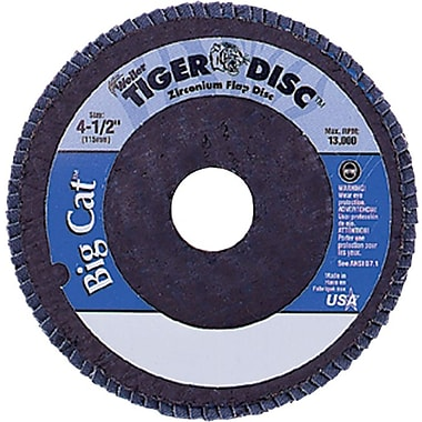 Tiger® Big Cat® 4 1/2 in (OD) 27 High Density Flat Style ZrO2 Flap Disc, 40 (Medium), 5/8-11 Arbor