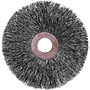 Weiler® 3 in (OD) 5/8 in (W) Face Small Diameter Crimped Wire Wheel Brush, 0.014 in Coarse, Steel