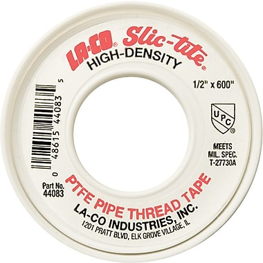LA-CO® Slic-Tite® 600 in (L) x 4 mil (T) White Premium-Grade Thread Tape, 1/2 in (W)