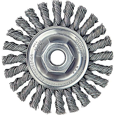 Dualife® 4 in (OD) 1/4 in (W) Face Cable Twist Knot Wire Wheel Brush, 0.02 in Wire, SS