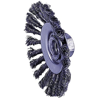 Dualife® 4 1/2 in (OD) 3/8 in (W) Face Knot Wire Bevel Wheel Brush, 0.02 in Wire, Steel