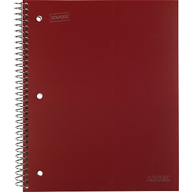 Staples® Accel Durable Poly Cover Notebook, College Ruled, Red, 8-1/2in. x 11in.