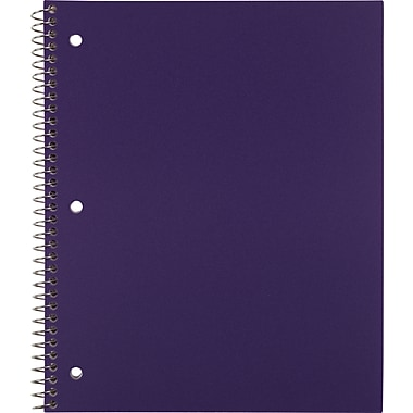 Staples® Accel Durable Poly Cover Notebook, College Ruled, Purple, 8-1/2in. x 11in.