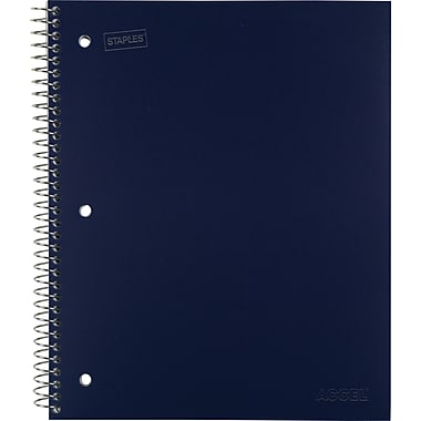 Staples® Accel Durable Poly Cover Notebook, College Ruled, Blue, 8-1/2in. x 11in.