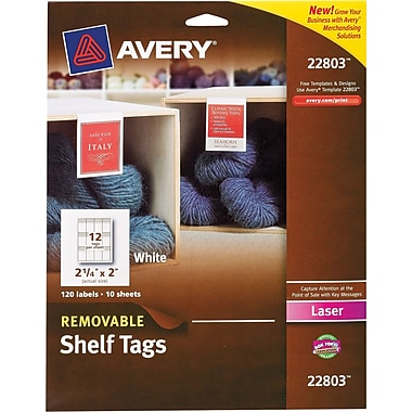 Avery® Removable Shelf Tags for Laser Printers, 2-1/4in. x 2in.