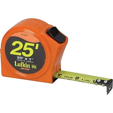 Lufkin® A4 Yellow Clad Steel Single Side Series 1000 Measuring Tape, 25 ft (L) x 1 in (W) Blade