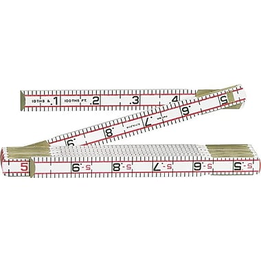 Lufkin® Red End® 5/8 in (W) Wood 1/10ths And 1/100ths Inch Folding Engineers Scale Ruler, 6 ft (L)