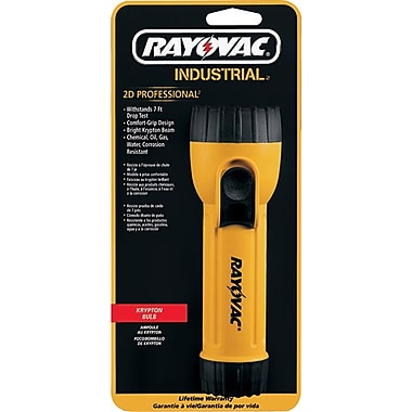Industrial™ 2 D Yellow Flashlight, Krypton, With Ring Hanger