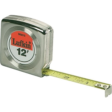Lufkin® Mezurall® A1 Yellow Clad Steel Power Return Measuring Tape, 12 ft (L) x 1/2 in (W) Blade