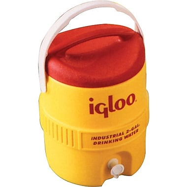 Igloo® 13.5 in (L) x 14.13 in (H) Yellow Polyethylene Beverage Cooler with Spigot, 3 gal