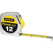 Powerlock® Mylar® Polyester Single Side Measuring Tape, 12 ft (L) x 1/2 in (W) Blade, Inch/Metric