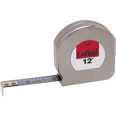 Lufkin® Mezurall® Chrome Clad® A8 Steel Single Side Measuring Tape, 12 ft (L) x 1/2 in (W) Blade