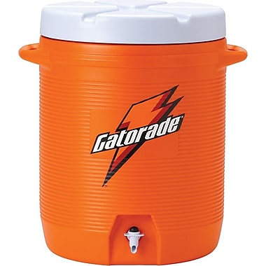 Gatorade® Orange Plastic Water Cooler with Cup Dispenser, 10 gal