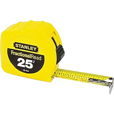 Stanley® Polymer Coated Single Side Measuring Tape, 25 ft (L) x 1 in (W) Blade, Inch/Fraction
