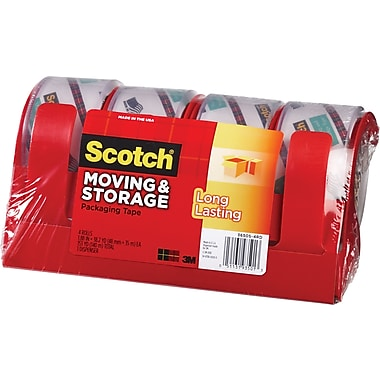 Scotch® Moving and Storage Tape, Clear, 1.88in. x 38.2 yds, 4 Dispeners/4 Rolls