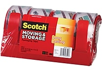 Scotch Long Lasting Moving & Storage Packaging Tape with Dispenser, 1.88' x 38.2 yds, Clear, 4/Pack
