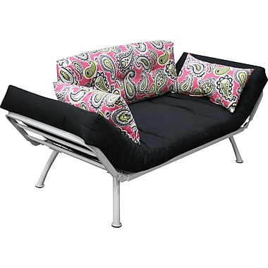Elite Mali Flex Futon Combination Sofa/Lounger/Sleeper, White/Majella & Black