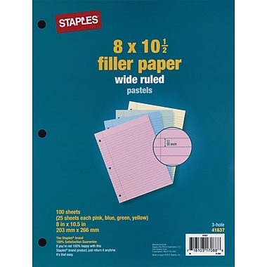 Staples Pastel Filler Paper, 8