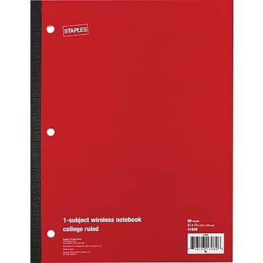 Staples® Wireless Notebook, College Ruled, 8-1/2in. x 11in., 80 Sheets