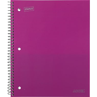 Staples Accel Durable Poly Cover Notebook, Wide Ruled, Pink, 8