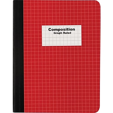 Staples® Composition Notebook, Graph Ruled, Red 9-3/4in. x 7-1/2in.