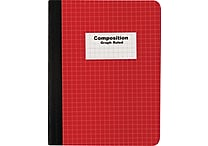 Staples® Composition Notebook, Graph Ruled, Red 9-3/4' x 7-1/2'