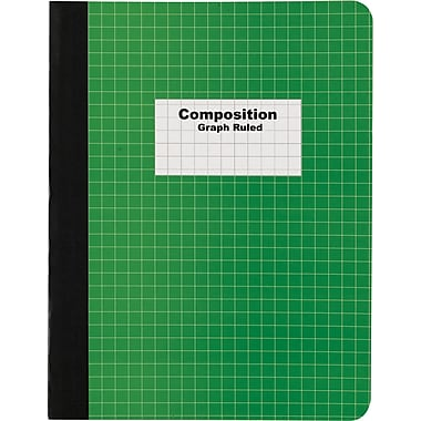 Staples® Composition Notebook, Graph Ruled, Green, 9-3/4in. x 7-1/2in.