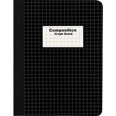 Staples® Composition Notebook, Graph Ruled, Black 9-3/4in. x 7-1/2in.