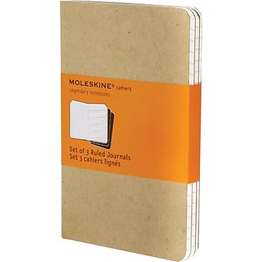 Moleskine Cahier Journal, Set of 3, Large, Ruled, Kraft Brown, Soft Cover, 5in. x 8-1/4in.