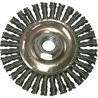 Anchor Brand® SS Stringer Bead Wheel Brush, 4 in (Dia), 0.02 in Wire, 5/8-11 Arbor