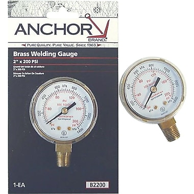 Anchor Brand® Brass Replacement Gauge, 100 psi, 2 1/2 in Dial, 1/4 in NPT