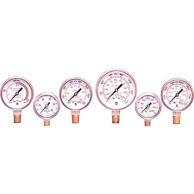 USG® 1 1/2 in Dial 1/8-27 NPT LM Polished Brass Welding And Compressed Gas Gauges