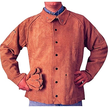 Anchor Brand® Snaps Closure Golden Brown Leather Q Line Coat Jacket, 2X-Large