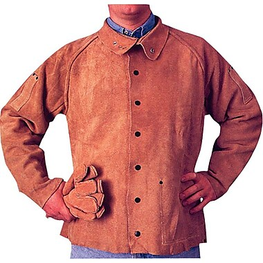 Anchor Brand® Snaps Closure Golden Brown Leather Q Line Coat Jacket, 3X-Large