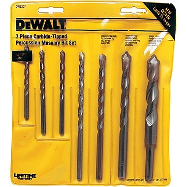 DeWalt® Premium Percussion Masonry Hammer Drill Bit Set, 3/16-1/2 in, 7 pcs