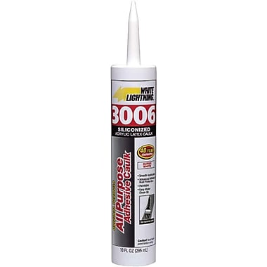 White Lightning™ White Acrylic Latex Silicone All Purpose Adhesive Caulk, 10 oz Fiber Cartridge