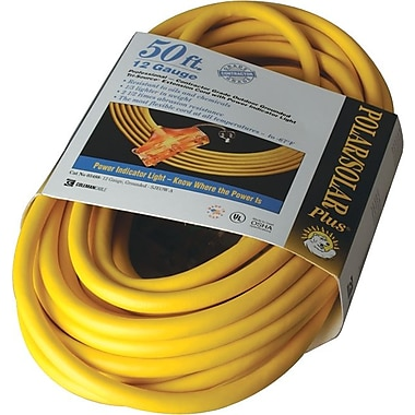 Polar/Solar® T*Prene® Tri-Source® TPE Jacket SJEOW 3 Way Extension Cord, 12/3 AWG, 50 ft (L)