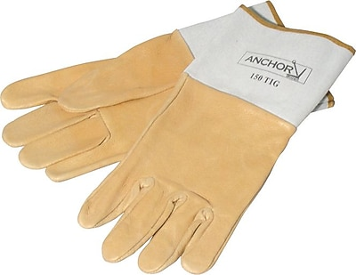 Anchor Brand Pigskin Standard Gunn-Straight Thumb TIG/MIG Welding Gloves, Large, Tan 775762