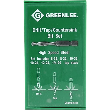 Greenlee® High Speed Steel 6 pcs Tap And Drill Bit Set, #6-32 - 1/4-20