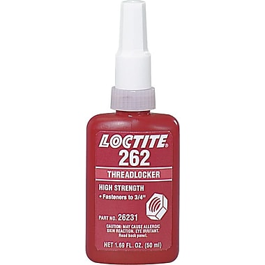 Loctite 262™ Red Medium To High Strength Permanent Threadlocker, 50 ml Bottle, -65 - 300 deg F