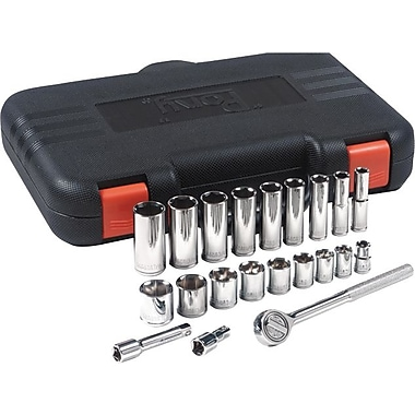 Pony® Nickel Chrome Plated Vanadium Steel Standard/Deep Socket Set, 3/8 in Square Drive, 22 pcs