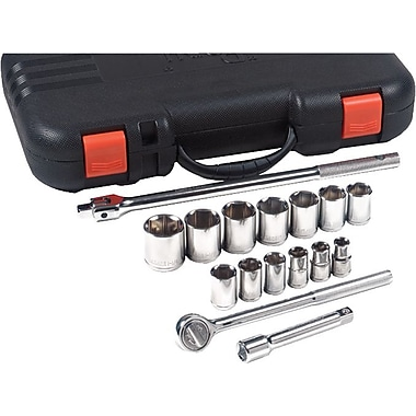 Pony® Chrome Plated Vanadium Steel Standard Socket Set, 1/2 in Square Drive, 17 pcs