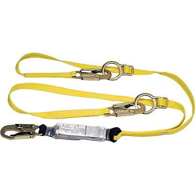 Workman® Yellow 2 Legs Shock-Absorbing Tie-Back Lanyard, 3LC