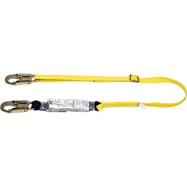 Workman® Yellow 1 Legs Shock-Absorbing Tie-Back Lanyard, 6 ft