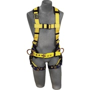 Delta No-Tangle™ D-Ring Waist And Back Yellow/Navy Polyester Stretchable Harness, Large, 420 lb