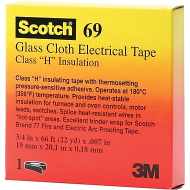 Scotch® White Glass Cloth Backing Electrical Tape, 3/4 in (W), 66 ft (L), 7 mil (T)
